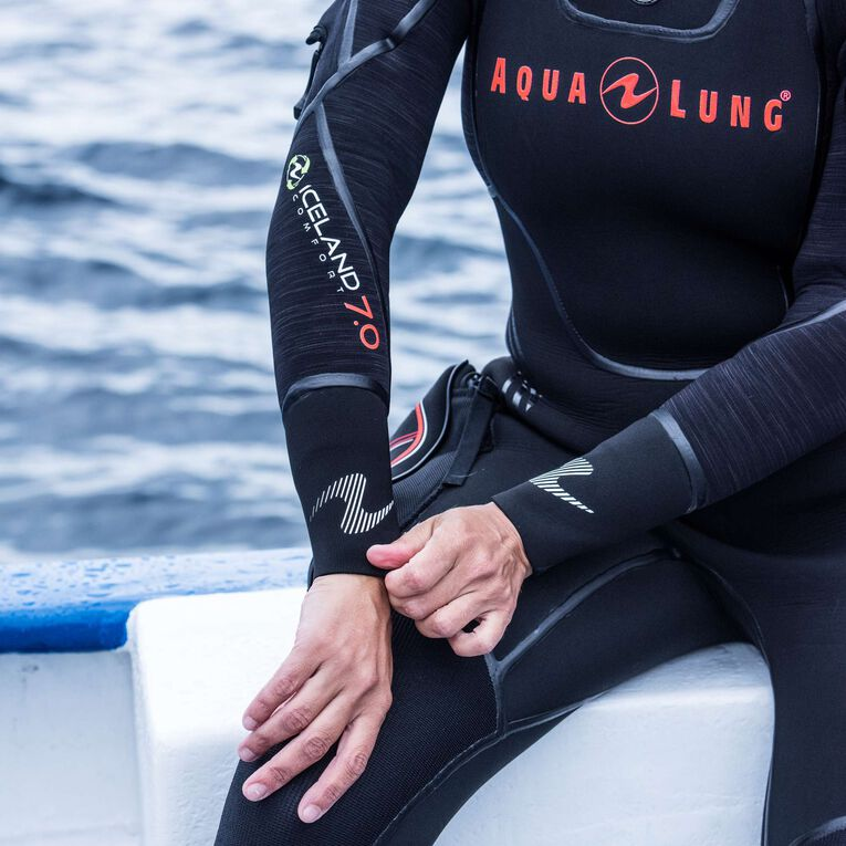 Iceland 7mm Semi Dry Wetsuit Femme, Noir/Corail, hi-res image number 4