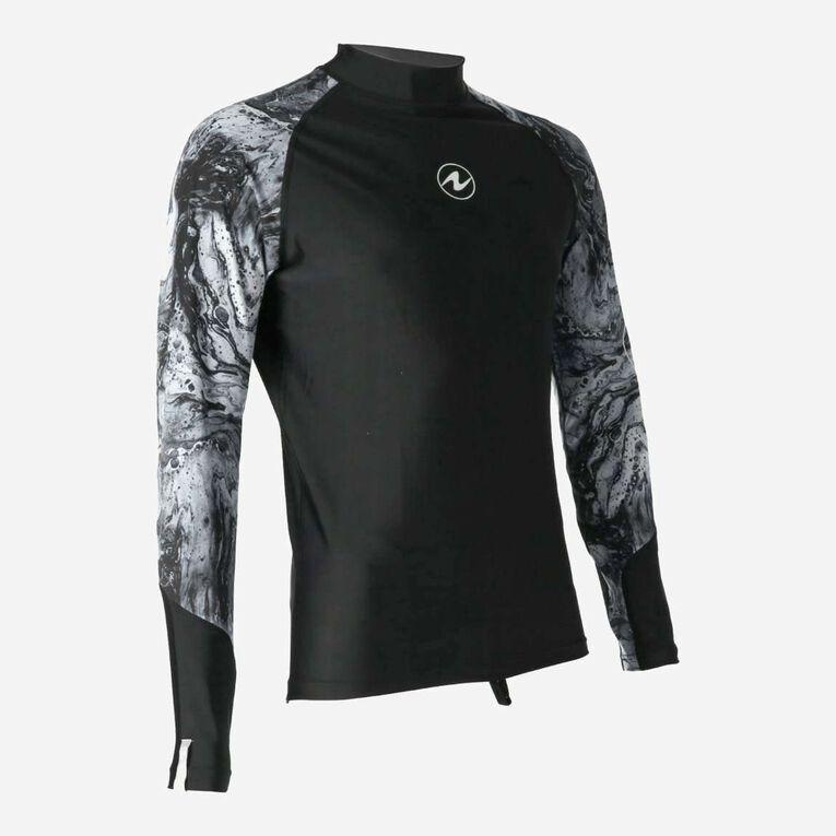 Aqua Rashguard Long Sleeve - Men, Noir/Blanc, hi-res image number 1