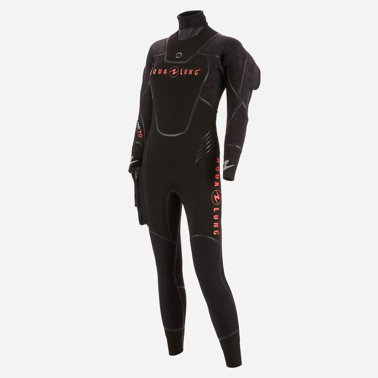 Iceland 7mm Semi Dry Wetsuit Femme, Noir/Corail, hi-res image number 1