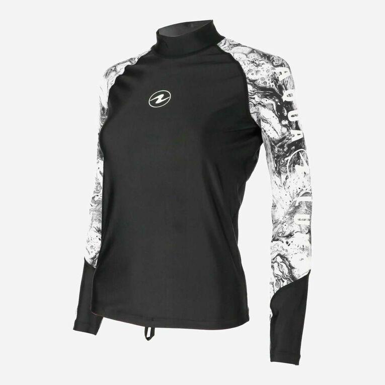 Aqua Rashguard Long Sleeve - Women, Noir/Blanc, hi-res image number 2