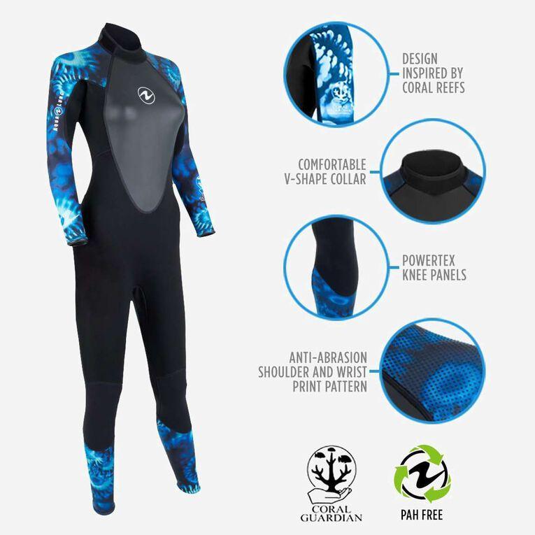HydroFlex 1mm Coral Guardian Wetsuit Women, Noir/Bleu, hi-res image number 1