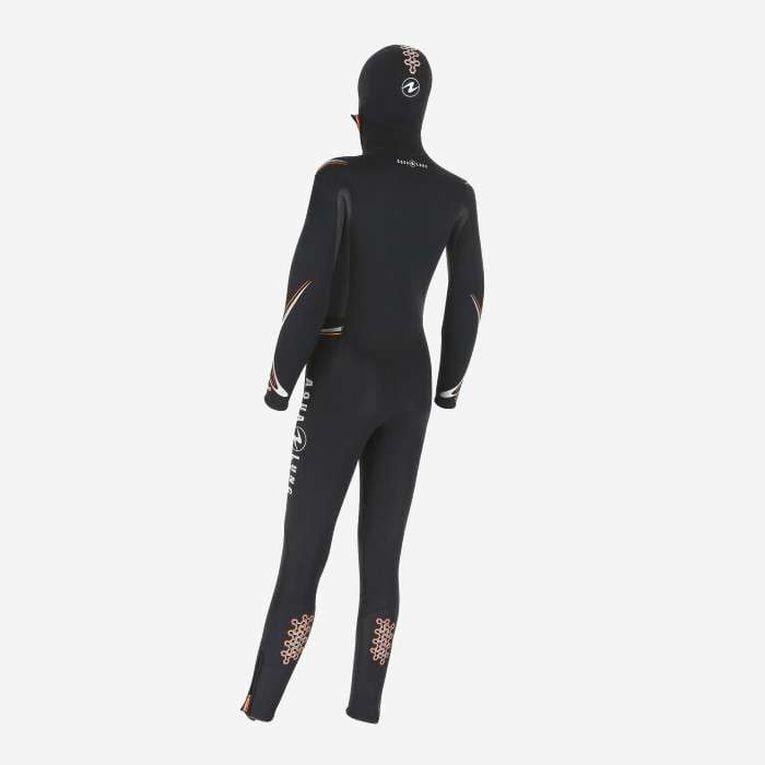 Dive 6mm Wetsuit with hood, Noir/Orange, hi-res image number 1