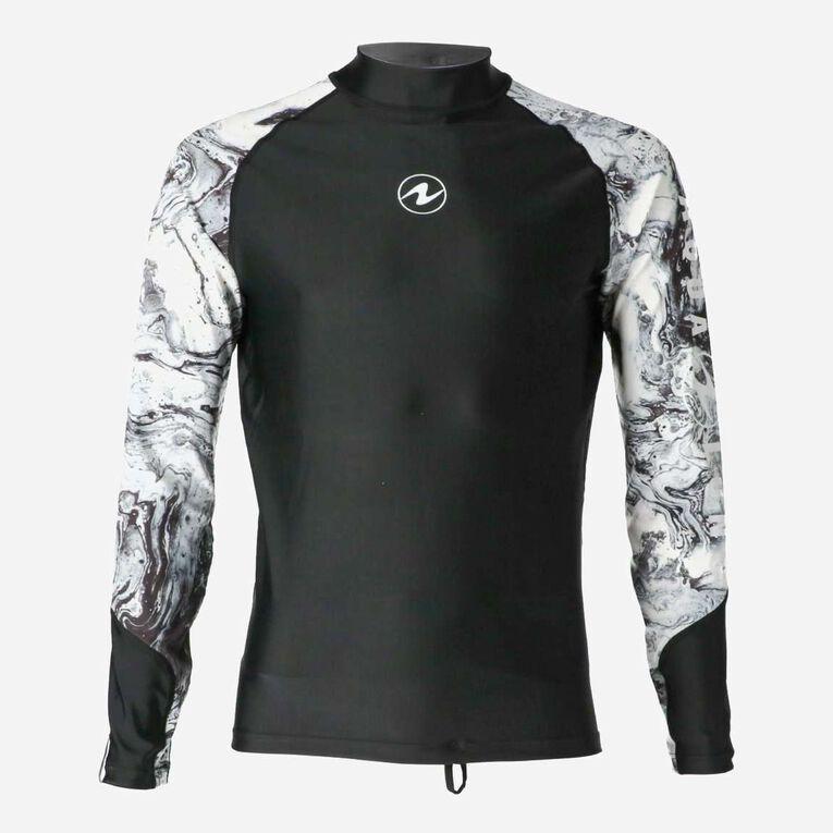 Aqua Rashguard Long Sleeve - Men, Noir/Blanc, hi-res image number 0