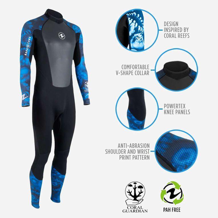 HydroFlex 3mm Coral Guardian Wetsuit Men, Noir/Bleu, hi-res image number 1