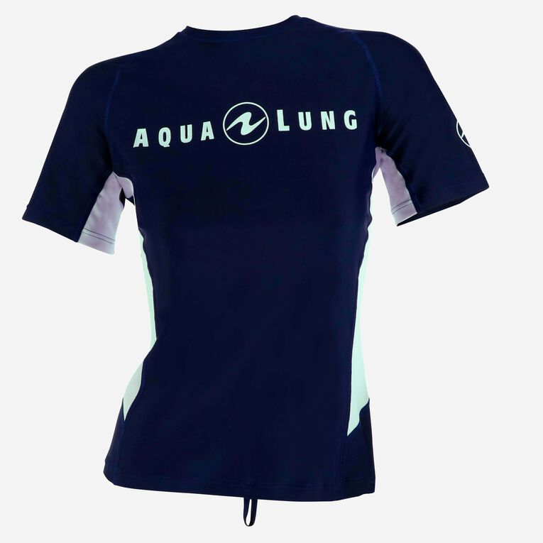 Rashguard Loose Fit Short sleeves - Women, Bleu marine/Blanc, hi-res image number 0