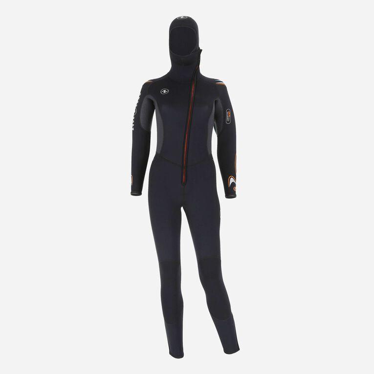 Dive 6mm Wetsuit with hood, Noir/Orange, hi-res image number 0