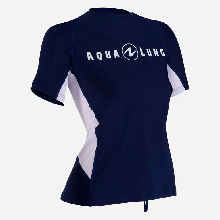 Rashguard Loose Fit Short sleeves - Women, Bleu marine/Blanc, hi-res image number 1