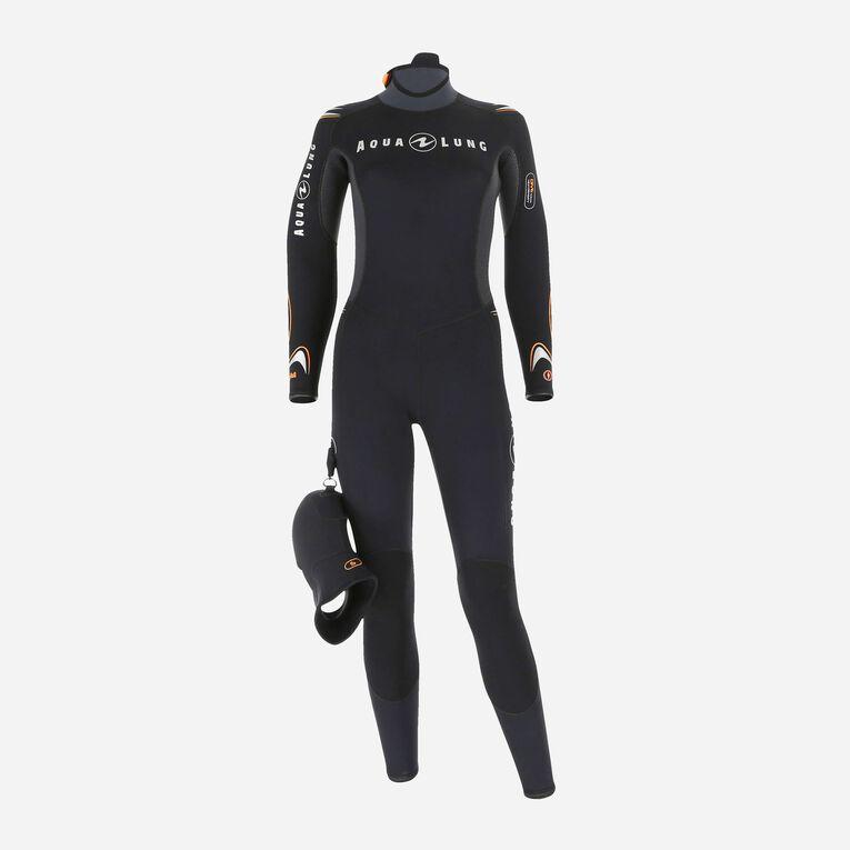 Dive 7mm Wetsuit Women, Noir/Orange, hi-res image number 0