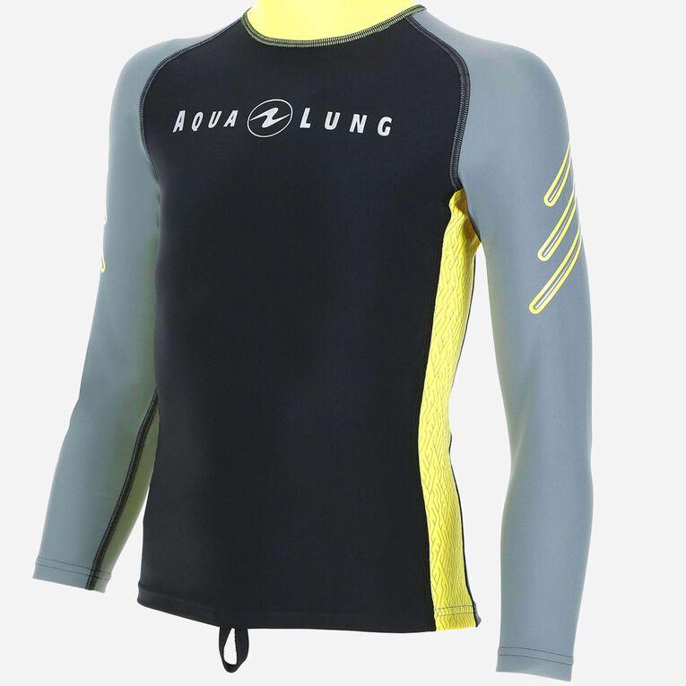 Rashguard Long Sleeves - Junior, Gris/Jaune, hi-res image number 0