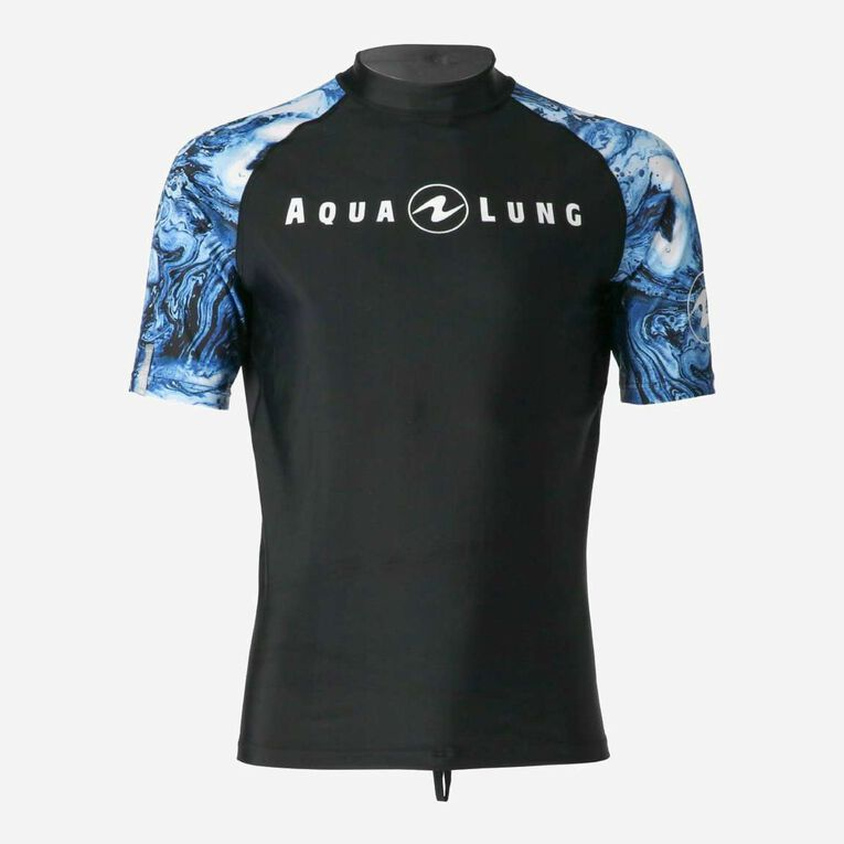 Aqua Rashguard Short Sleeve - Men, Bleu marine/Blanc, hi-res image number 0