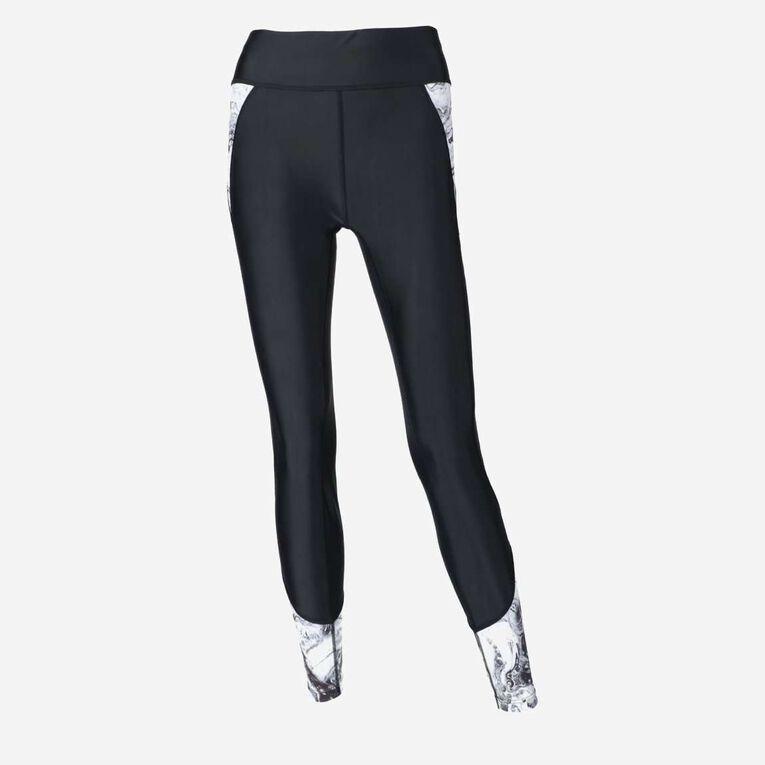 Aqua Rashguard Leggings - Women, Noir/Blanc, hi-res image number 0