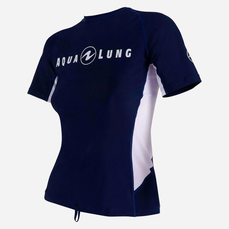 Rashguard Loose Fit Short sleeves - Women, Bleu marine/Blanc, hi-res image number 2