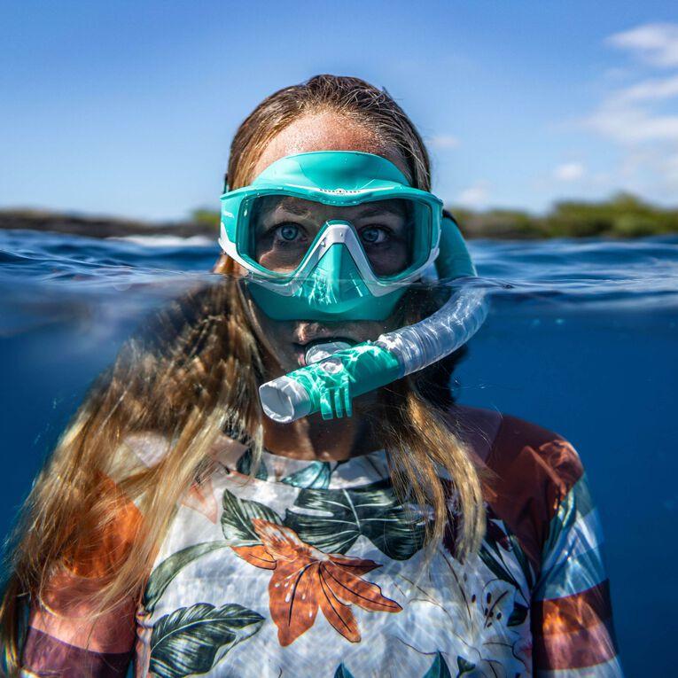 Versa Snorkeling mask, Turquoise/Blanc/Verres transparents, hi-res image number 3