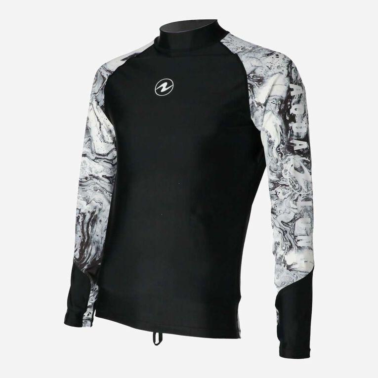 Aqua Rashguard Long Sleeve - Men, Noir/Blanc, hi-res image number 2
