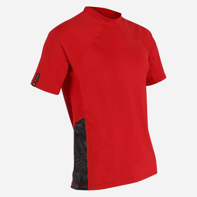 Xscape Rashguard short sleeves - Men, Rouge/Vert foncé, hi-res image number 1